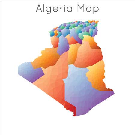Low Poly map of Algeria. Algeria geometric polygonal, mosaic style map.