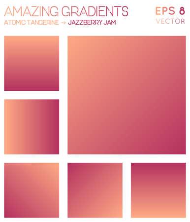 Colorful gradients in atomic tangerine, jazzberry jam color tones. Alive gradient background, astonishing vector illustration.