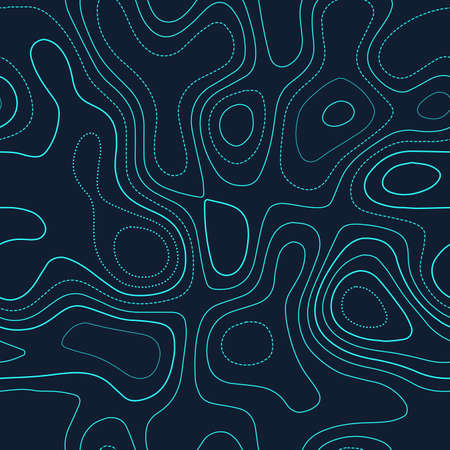 Terrain topography. Actual topography map. Futuristic seamless design, posh tileable isolines pattern. Vector illustration.