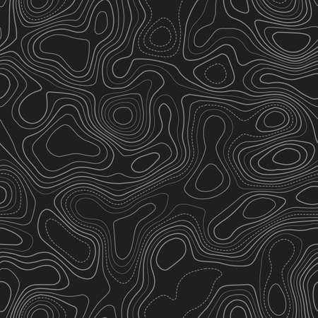 Topographic contours. Actual topography map. Dark seamless design, favorable tileable isolines pattern. Vector illustration.