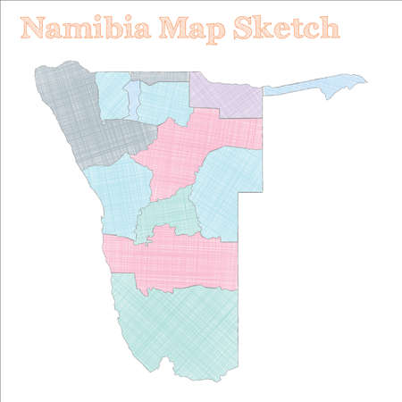 Namibia map. Hand-drawn country. Symmetrical sketchy Namibia map with regions. Vector illustration.