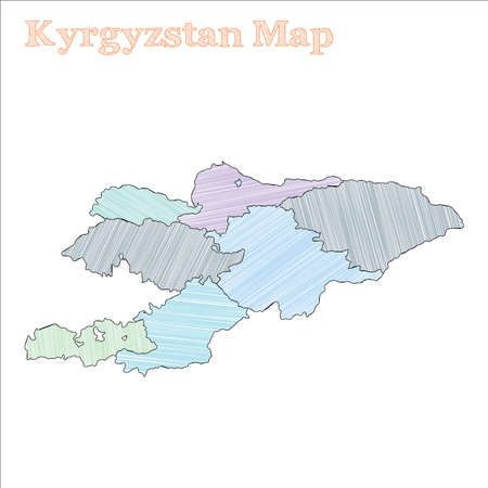 Kyrgyzstan hand-drawn map. Colourful sketchy country outline. Optimal Kyrgyzstan map with provinces. Vector illustration.