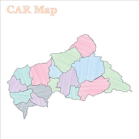 CAR hand-drawn map. Colourful sketchy country outline. Creative CAR map with provinces. Vector illustration. Vektoros illusztráció