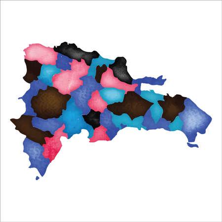 Karte von Dominicana. Bunte Aquarell Dominicana Karte. Ausgezeichnete Ländervektorillustration. Vektorgrafik