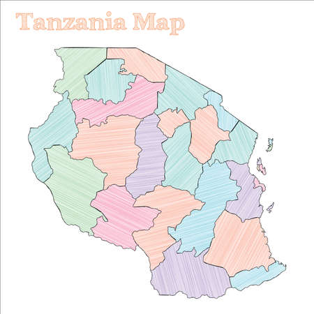 Tanzania hand-drawn map. Colourful sketchy country outline. Enchanting Tanzania map with provinces. Vector illustration.