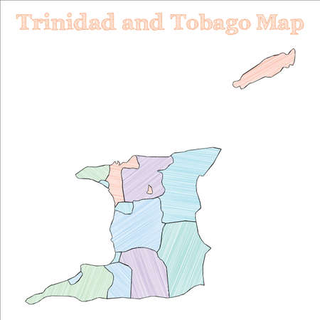 Trinidad and Tobago hand-drawn map. Colourful sketchy country outline. Ecstatic Trinidad and Tobago map with provinces. Vector illustration.