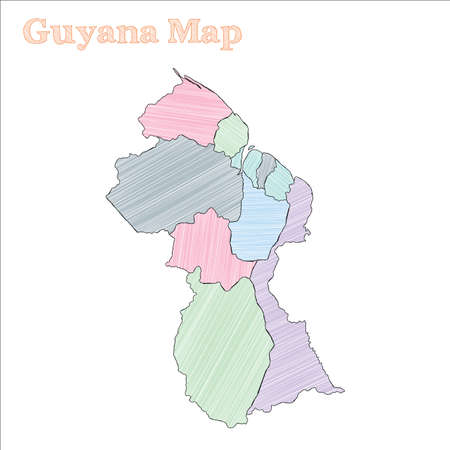 Mapa dibujado a mano de Guyana. Esquema colorido del país incompleto. Increíble mapa de Guyana con provincias. Ilustración vectorial.