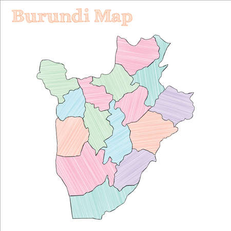 Burundi hand-drawn map. Colourful sketchy country outline. Authentic Burundi map with provinces. Vector illustration.
