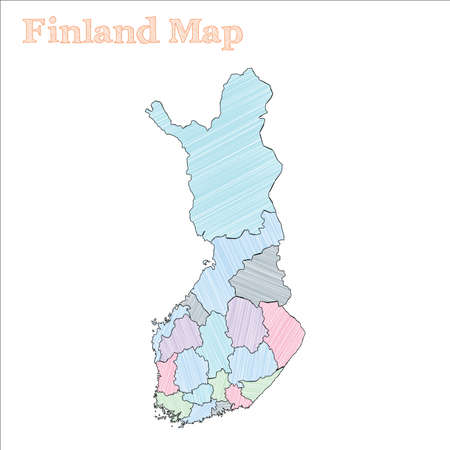 Finland hand-drawn map. Colourful sketchy country outline. Favorable Finland map with provinces. Vector illustration. Ilustrace