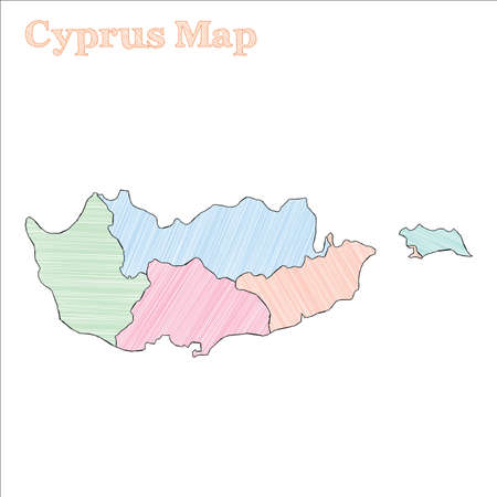 Cyprus hand-drawn map. Colourful sketchy country outline. Enchanting Cyprus map with provinces. Vector illustration.