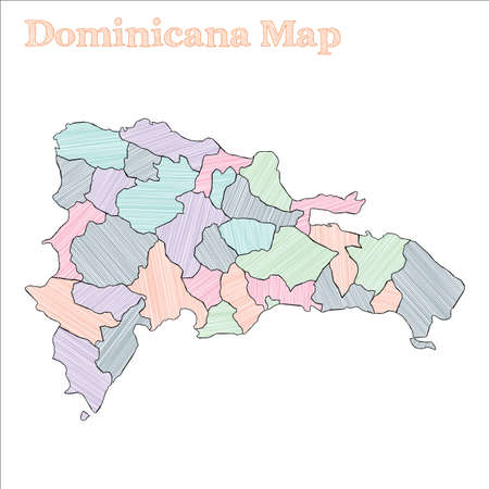 Dominicana hand-drawn map. Colourful sketchy country outline. Exquisite Dominicana map with provinces. Vector illustration.