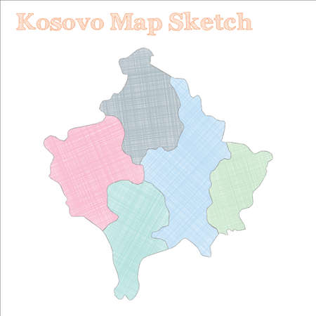 Kosovo map. Hand-drawn country. Overwhelming sketchy Kosovo map with regions. Vector illustration.