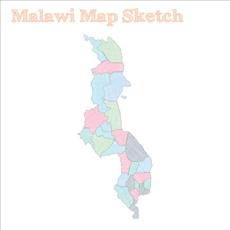 Malawi map. Hand-drawn country. Superb sketchy Malawi map with regions. Vector illustration.