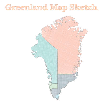 Greenland map. Hand-drawn country. Immaculate sketchy Greenland map with regions. Vector illustration.