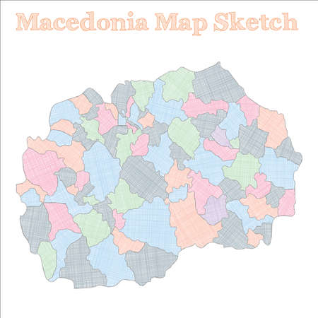 Macedonia map. Hand-drawn country. Resplendent sketchy Macedonia map with regions. Vector illustration.