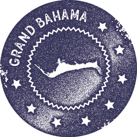 Grand Bahama map vintage stamp. Retro style handmade label, badge or element for travel souvenirs. Deep purple rubber stamp with island map silhouette. Vector illustration. Vectores