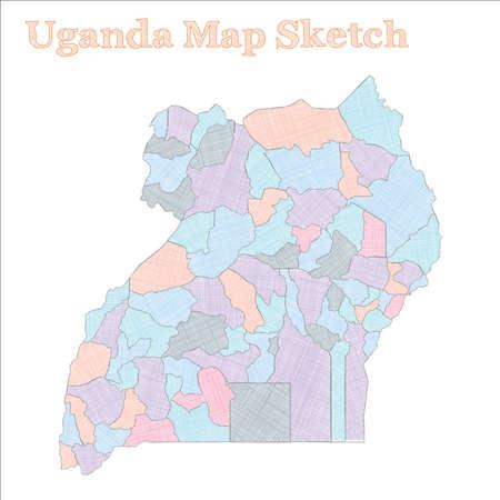 Uganda map. Hand-drawn country. Energetic sketchy Uganda map with regions. Vector illustration. Illustration