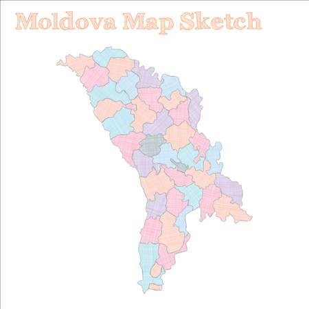 Moldova map. Hand-drawn country. Rare sketchy Moldova map with regions. Vector illustration.