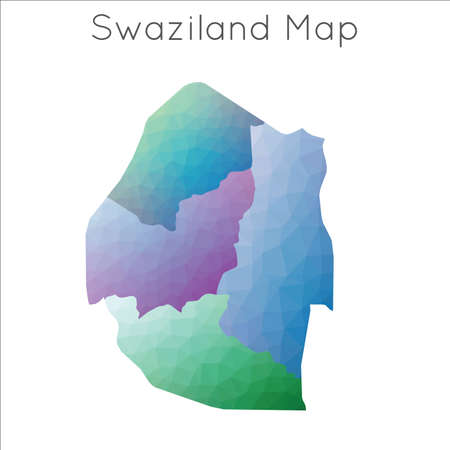 Low Poly map of Swaziland. Swaziland geometric polygonal, mosaic style map.