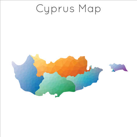 Low Poly map of Cyprus. Cyprus geometric polygonal, mosaic style map.