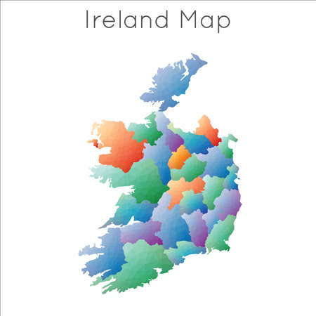 Low Poly map of Ireland. Ireland geometric polygonal, mosaic style map.