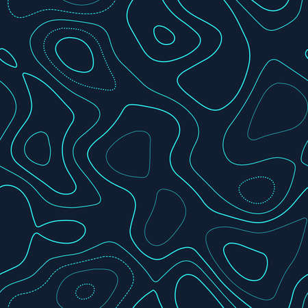 Niesamowita topografia. Aktualna mapa topograficzna. Futurystyczny, bezszwowy design, niesamowity wzór kafelkowy izolinii. Ilustracja wektorowa.