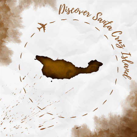 Santa Cruz Island watercolor island map in sepia colors. Discover Santa Cruz Island poster with airplane trace and handpainted watercolor map on crumpled paper. Vector illustration.