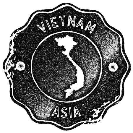 Vietnam map vintage stamp. Retro style handmade label, badge or element for travel souvenirs. Black rubber stamp with country map silhouette. Vector illustration. Vetores