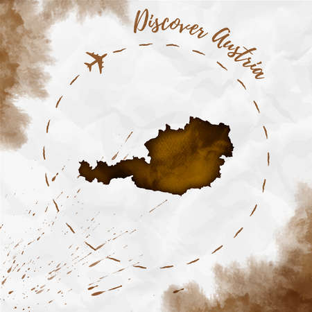 Austria watercolor map in sepia colors. Discover Austria poster with airplane trace and handpainted watercolor Austria map on crumpled paper. Vector illustration.