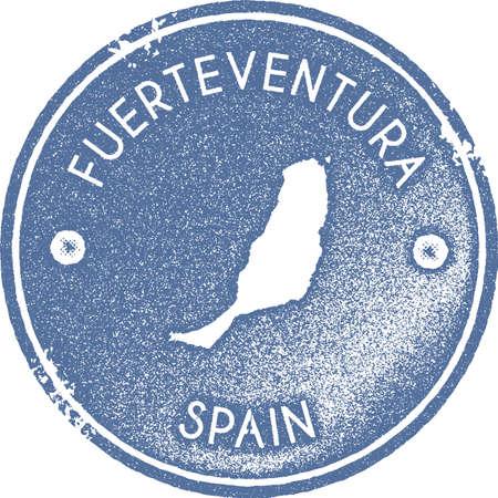 Fuerteventura map vintage stamp. Retro style handmade label, badge or element for travel souvenirs. Light blue rubber stamp with island map silhouette. Vector illustration. Vektorové ilustrace