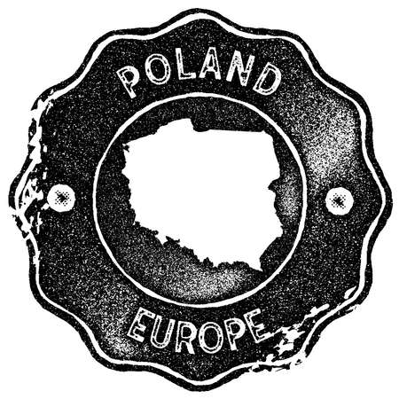 Poland map vintage stamp. Retro style handmade label, badge or element for travel souvenirs. Black rubber stamp with country map silhouette. Vector illustration.