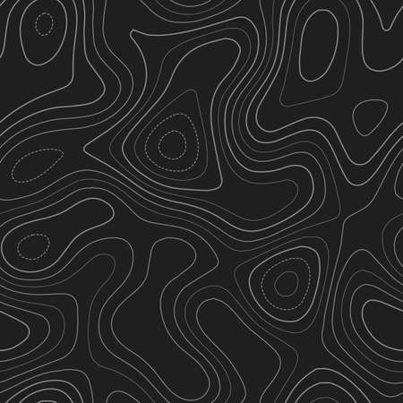 Terrain topography. Admirable topography map. Dark seamless design, fancy tileable isolines pattern. Vector illustration.