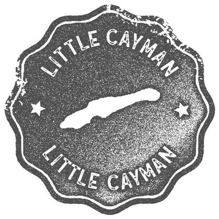 Little Cayman map vintage stamp. Retro style handmade label, badge or element for travel souvenirs. Grey rubber stamp with island map silhouette. Vector illustration.