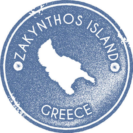Zakynthos Island map vintage stamp. Retro style handmade label, badge or element for travel souvenirs. Light blue rubber stamp with island map silhouette. Vector illustration. Çizim
