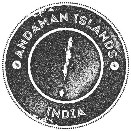 Andaman Islands map vintage stamp. Retro style handmade label, badge or element for travel souvenirs. Dark grey rubber stamp with island map silhouette. Vector illustration. Ilustração