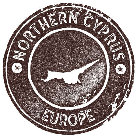 Northern Cyprus map vintage stamp. Retro style handmade label, badge or element for travel souvenirs. Brown rubber stamp with country map silhouette. Vector illustration. Vettoriali