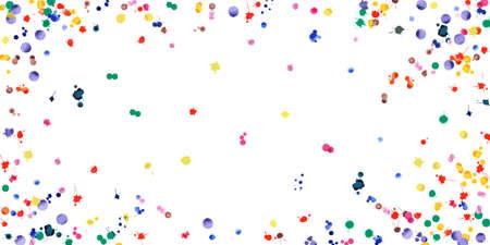 Aquarel confetti op witte achtergrond. Regenboog gekleurde klodders breed vignet. Kleurrijke brechterhand geschilderde illustratie. Gelukkige viering partij achtergrond. Geweldige vectorillustratie.