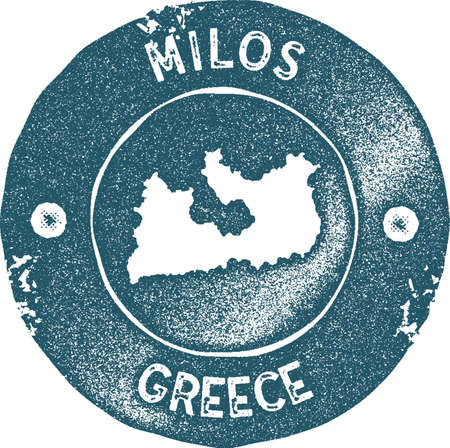 Milos map vintage stamp. Retro style handmade label, badge or element for travel souvenirs. Blue rubber stamp with island map silhouette. Vector illustration.