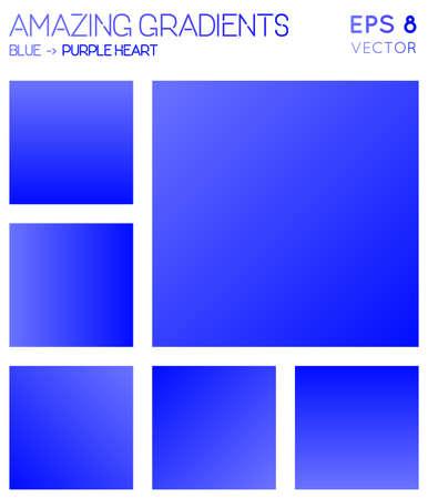 Colorful gradients in blue, purple heart color tones. Alive gradient background, alluring vector illustration.