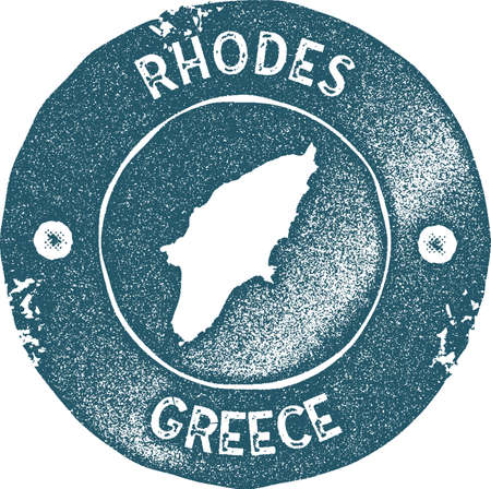 Rhodes map vintage stamp. Retro style handmade label, badge or element for travel souvenirs. Blue rubber stamp with island map silhouette. Vector illustration.