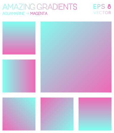 Colorful gradients in aquamarine, magenta color tones. Alive gradient background, breathtaking vector illustration.  イラスト・ベクター素材