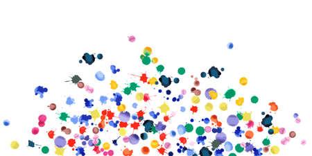 Akwarela konfetti na białym tle. Tęczowe kolorowe plamy szeroka eksplozja. Kolorowe jasne ręcznie malowane ilustracja. Szczęśliwy tło strony uroczystości. Żywy ilustracji wektorowych.