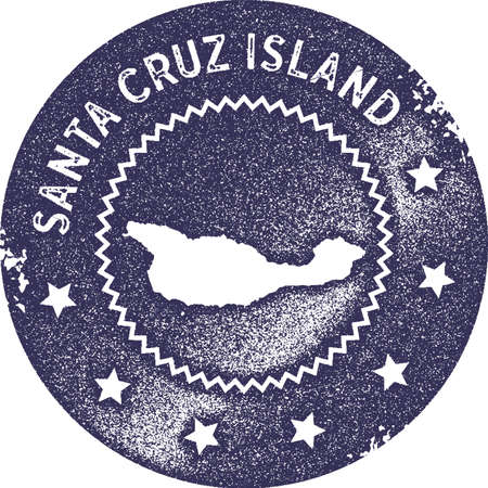 Santa Cruz Island map vintage stamp. Retro style handmade label, badge or element for travel souvenirs. Deep purple rubber stamp with island map silhouette. Vector illustration.