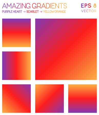 Colorful gradients in purple heart, scarlet, yellow orange color tones. Admirable gradient background, appealing vector illustration.
