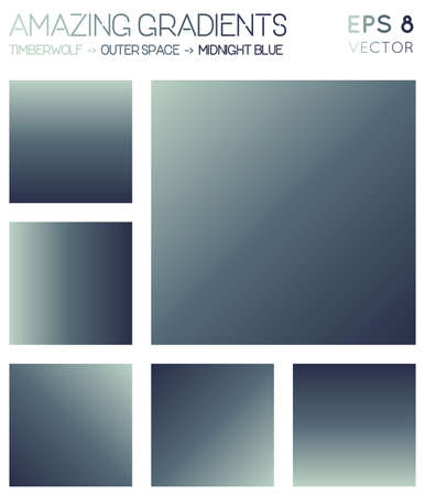 Colorful gradients in timberwolf, outer space, midnight blue color tones. Actual gradient background, beautiful vector illustration.