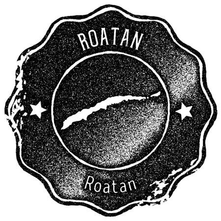 Roatan map vintage stamp. Retro style handmade label, badge or element for travel souvenirs. Black rubber stamp with island map silhouette. Vector illustration. Illustration
