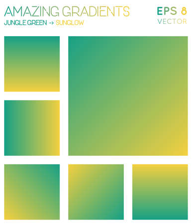 Colorful gradients in jungle green, sunglow color tones. Actual gradient background, delicate vector illustration.