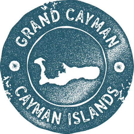 Grand Cayman map vintage stamp. Retro style handmade label, badge or element for travel souvenirs. Blue rubber stamp with island map silhouette. Vector illustration.