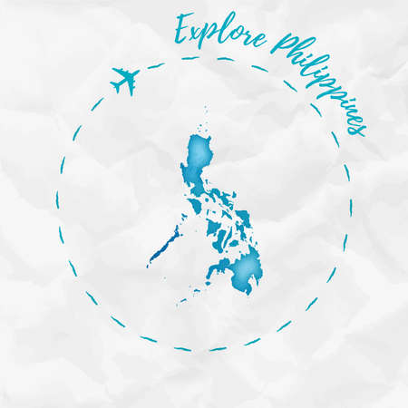 Philippines watercolor map in turquoise colors. Explore Philippines poster with airplane trace and handpainted watercolor Philippines map on crumpled paper. Vector illustration. Illusztráció