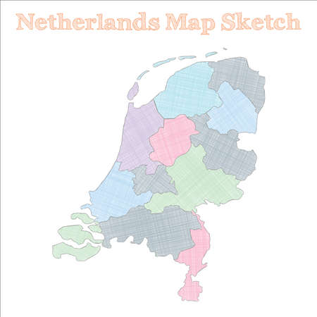 Netherlands map. Hand-drawn country. Unequaled sketchy Netherlands map with regions. Vector illustration. Ilustração